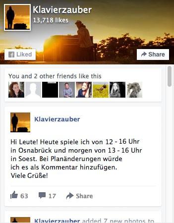 Klavierzauber bei Facebook